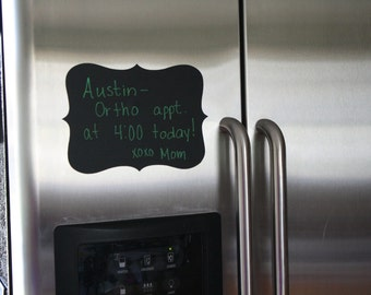 """4 Classic 4 Point Style Chalkboard Message Board for Refrigerator 6"""" x 9"""" Decal Label"""