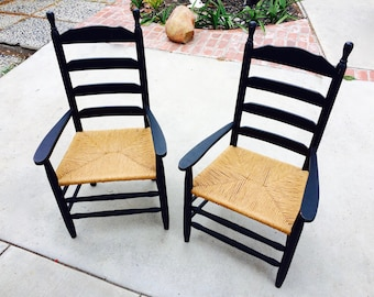 Ladder Back Chairs 2 TWO Vintage Black Armed Dining Chairs Farmhouse Chairs  Black Wooden Rush