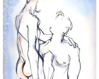 Homoerotic Art Print, Erotic Art, Male Nudes, Mature - Regarde Moi Toujours Comme Ca