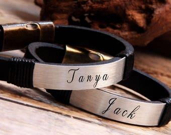 Couples Bracelet, Leather Bracelet, Personalized Gift, Mens Bracelet, Husband Gift, Boyfriend Gift, Gift for Him, Girlfriend Gift, Name Gift