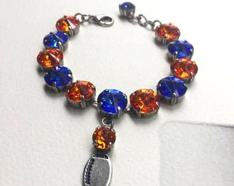 Florida Gator inspired Football Bracelet