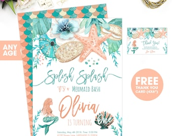 Mermaid Invitation, Mermaid Birthday Invitation, Mermaid Birthday, mermaid party, Mermaid birthday invites, mermaid birthday party