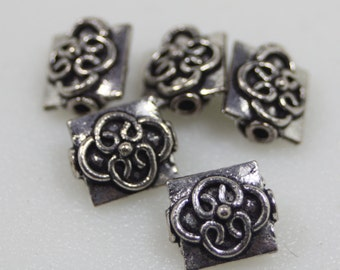 Sterling Plated Bali Style Beads, 10mm, 8 PCS