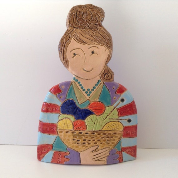 IN STOCK. Lady with Yarn. Handmade ceramic bust, mini-bust, Colourful People, collectible, one of a kind