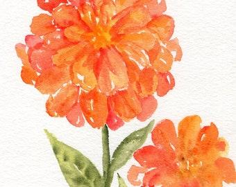 Zinnia watercolor painting original, Small Flower Art  5 x 7 floral artwork,  orange flower painting,  zinnia painting
