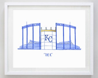 The K Kansas City Watercolor Print - Kansas City Art - KC Watercolor Painting