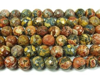 Red Leopard Skin Jasper Faceted Gemstone Beads