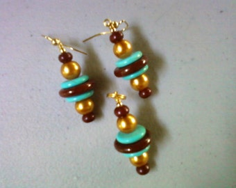 Gold, Brown and Turquoise Pendant and Earrings (0309)