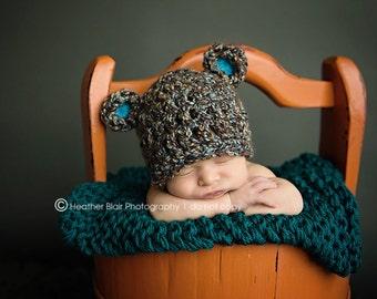 Newborn bear hat, baby bear hat, crochet bear hat, newborn boy photo prop, infant boy, baby boy,  animal hat, baby boy beanie,