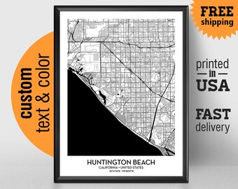 Huntington Beach California Map, Huntington Beach City Print Poster, Personalized Wedding Map Art Gift For Couple, Custom city map