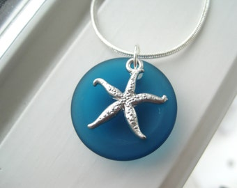 Starfish Necklace - Starfish Jewelry - Teal Jewelry - Teal Necklace - Cultured Sea Glass Jewelry - Beach Jewelry - Recycled Glass Jewelry