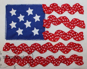 4th of July 3D Ribbon Flag Embroidery Design Machine Applique