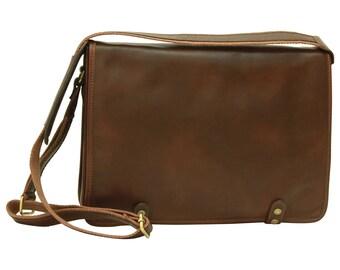 Leder Umhängetasche Dunkelbraun aus Italienischem Leder - Aktentasche - Reisetasche - Laptop Tasche - Geschenke für Männer