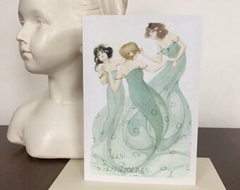 Raphael Kirchner Card, Greeting Card, Women Card, Blank Card, Vintage Image, Retro Image, Birthday Card