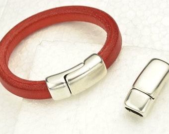 Overlap Magnetic Clasp for Licorice Leather - Silver  Clasp-  for Leather Bracelet - Fits 10x6mm Cord (Qty.1)