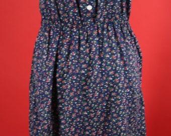 Sleeveless Prairie Style Dress Elastic Waist 1970's 1980's