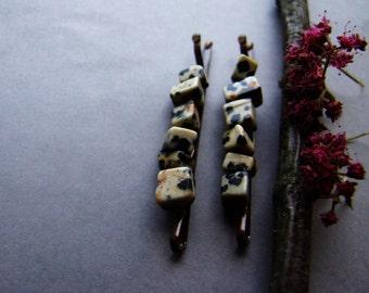 Jasper Bobby Pins, Gemstone Hair Pins, Woodland Jasper Bobby Pin Set