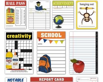Printable school journaling cards / collage sheet / filler cards / pocket scrapbooking / instant download / digital scrapbooking
