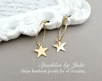Wish Upon a Star Earrings - 14K Gold Filled Hoops with Gold Filled Star Charm, Simple, Minimal, Lightweight Celestial Jewelry