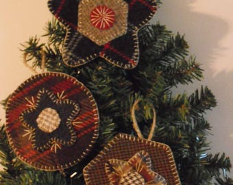 KIT-Wool Penny Rug Ornament Kit-Set of 3-Wool Embroidery