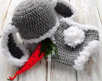 Crochet Bunny Hat & Panties. Photo Prop. Easter Bunny. Newborn prop.