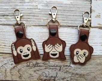 Hear No Evil, See No Evil, Speak No Evil Keychains, Monkey Keychains, BFF Keychains