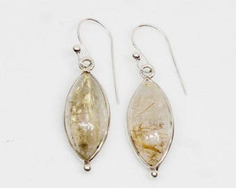 Rutile Quartz Earrings, 925 Silver Earrings, Sterling Silver, Gemstone Earrings, Marquis Shape Earrings, Cabochon Stone Earrings