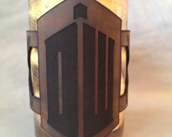 Dr. Who themed, custom design leather mug wrap with 20oz handmade walnut mug combo