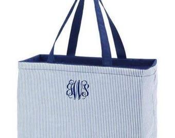 Monogram Beach Bag- Navy Seersucker Ultimate Tote | Oversized Beach Bag | Pool Bag | Overnight Bag | Graduation Gift | Wedding Gift