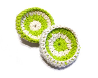 Hot Green And Ecru Crocheted Cotton And Nylon Netting Dish Scrubbies-Pair