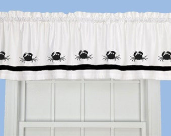 Crab Crustacean Window Valance / Treatment - Your Choice of Colors