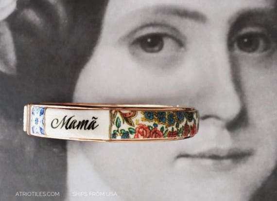 Mamã Mãe Mother BRACEleT - Mother's Day Portugal Antique 17th century Azulejo Tile Replicas - Blue Gold-  Ericeira Valentines