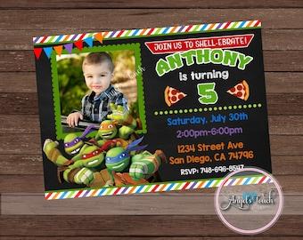 Ninja Turtles Invitation, Ninja Turtles Birthday Party Invitation with Photo, Ninja Turtle Invitation with Photo, Digital File