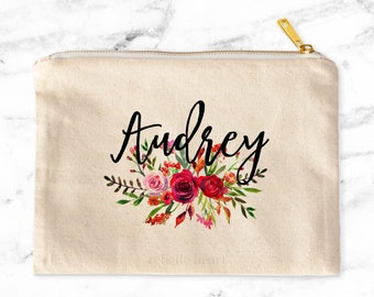 Personalized Cosmetic Bag, Custom Makeup Pouch, Zippered Pouch, Makeup Bag, Cosmetic Pouch, Canvas Makeup Bag, Personalized Gift For Her