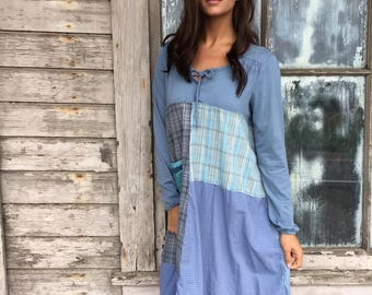 Louisa dress-medium large-artsy-Eco Clothing-Upcycled Clothing-Anthropologie inspired-by Love HIGHER Handmade Clothing