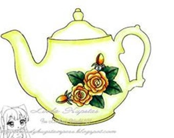 Rose Teapot - Digital Stamp