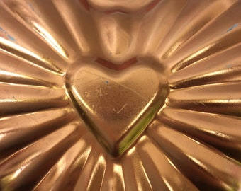 Vintage Copper Heart Mold - Gelatin Mold - Copper Jello Mold - Wall Decoration