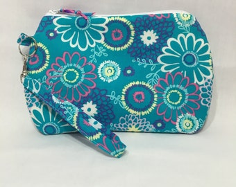 Blue Floral ~ Kendall Wristlet Free Shipping in the US