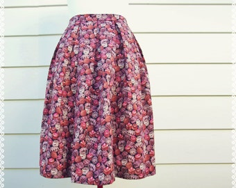 Pleated Skirt in Sweet as Chocolate Print - Unique Print Skirt, OOAK Aline Skirt in Size Large