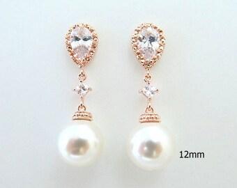 Bridal Pearl Earrings Rose Gold Earrings Wedding Jewelry Swarovski 12mm Pearl Cubic Zirconia Earrings Bridesmaids Gift Dangle Earring (E138)