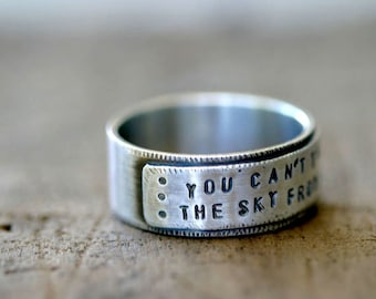 Sterling Silver Personalized Mens Ring Band (E0260)