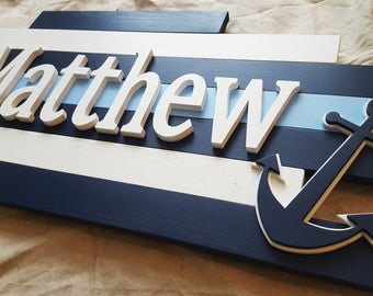Wood Name Plaque//Nautical Nursery Sign//Wooden Name Sign//Nautical Nursery//Name Sign for Nursery//Wooden Name Art//Painted Nursery Letters