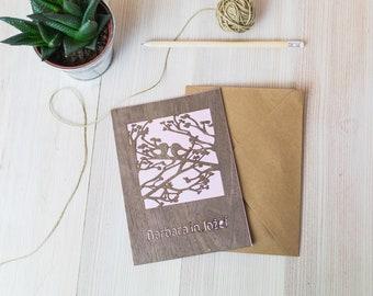 Laser cut wedding invitation, custom color, wooden rustic and handmade invitation set