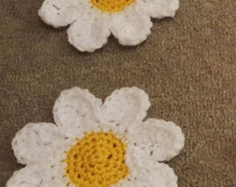 Lovely Handmade Crochet Daisy Coaster - set of 2