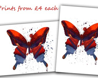 Butterfly Print, insect Print, butterfly Artwork, red blue Watercolor, butterfly Decor, Nursery butterfly, Nursery Poster, Nursery Wall Art