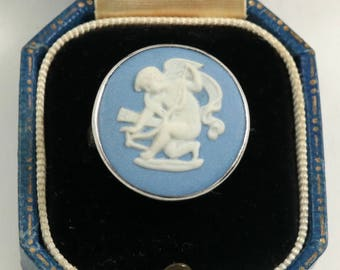 Vintage Wedgwood Ring Sterling Silver Blue Jasper Cameo Ring Cherub Cupid Sharpening Bow Wedgewood Ring US Size 6.75 UK Size N