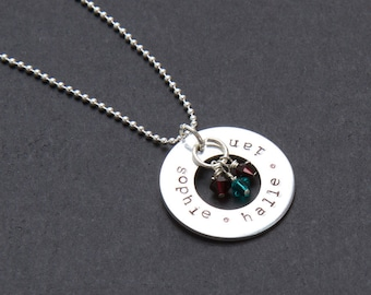 Personalized hand stamped washer necklace