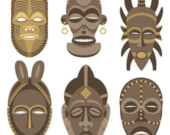 African Masks - Vector Cartoon Illustration. mask, African mask, Africa, Lulua mask, Zulu, culture, ethnic, face, collection, set, voodoo