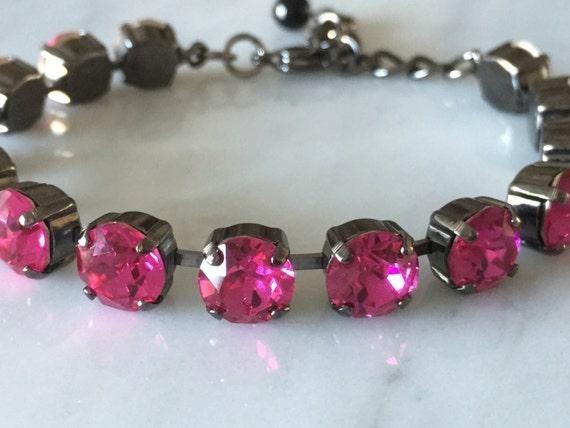 Fuchsia Swarovski Crystal Bracelet, Gunmetal