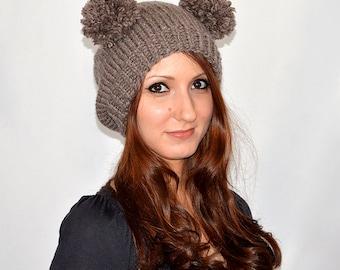 Bear Hat, Knit Bear Ear Hat or Bear Beanie, Womens Bear Hat, Double Pom Pom Hat, Bear Ears Hat